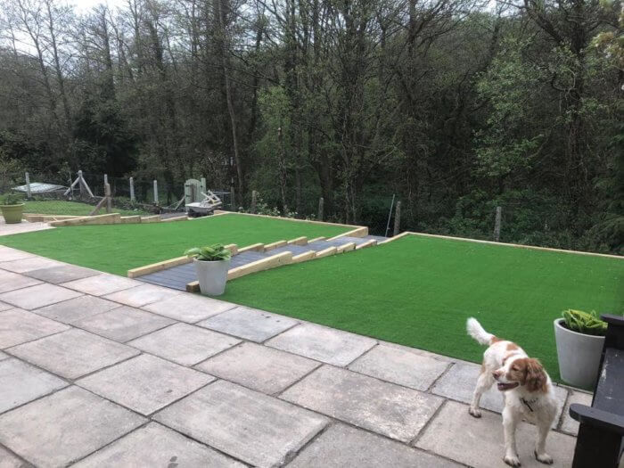 Garden project. Composite decking sleeper steps with lovely seating area with views over the local river.
