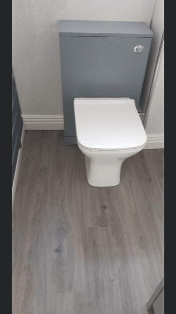 Latest bathroom refurb, complete with new aquamura wall boards, modern LVT flooring and new contrasting suite.